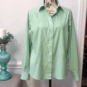Lands' End Green And White Striped Long Sleeve Top
